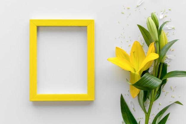 La vista elevata dei fiori freschi del giglio giallo con la struttura vuota in bianco della foto sopra la superficie di bianco Foto Gratuite