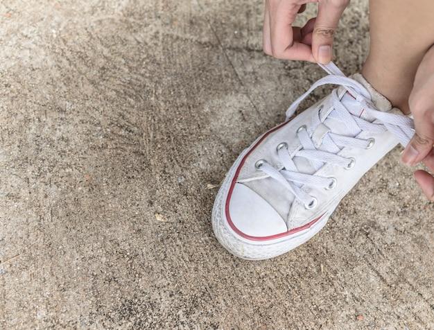 Lacci delle scarpe. Foto Premium