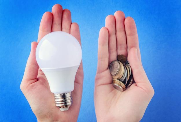 Lampada a led e un mucchio di monete in mano, palme su un backgroun blu Foto Premium