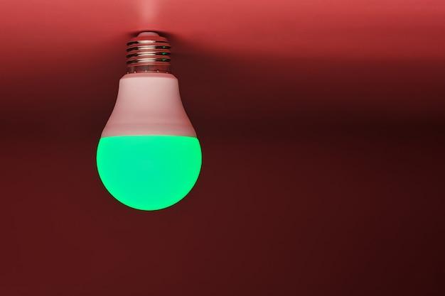 Lampadina verde, moderno risparmio energetico, copia spazio. idea minimale. Foto Premium