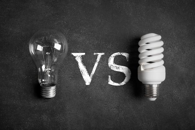 Lampadine elettriche trasparenti e bianche (a risparmio energetico) Foto Premium