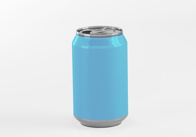 Latta di alluminio blu isolata su bianco Foto Premium