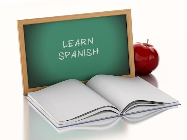 Lavagna 3d con il libro aperto e una mela rossa. Foto Premium