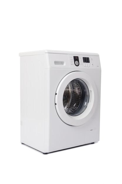 Lavatrice isolata su bianco Foto Premium