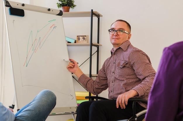 Lavoratore disabile che presenta progetto all'ufficio Foto Gratuite