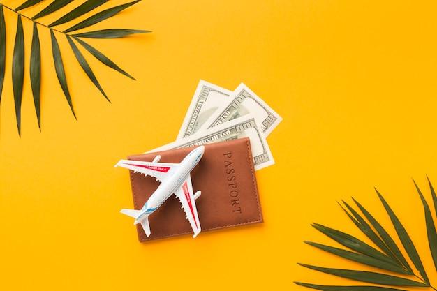 Lay piatto di passaporto con e figurina di denaro e aereo in cima Foto Gratuite