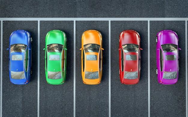 Le auto colorate sono nel parcheggio o si stanno preparando per la gara Foto Premium
