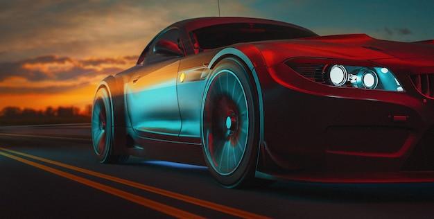 Le auto moderne sono sulla strada. l'illustrazione 3d e 3d rendono. Foto Premium