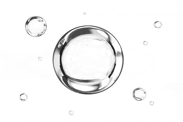 Le bolle innaffiano su fondo bianco 3d rendono Foto Premium