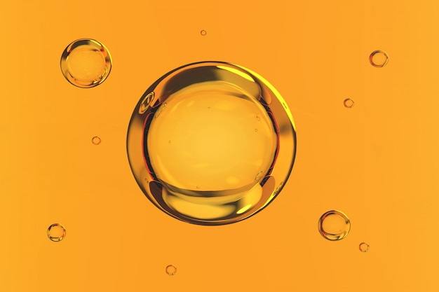 Le bolle innaffiano su fondo giallo 3d rendono Foto Premium