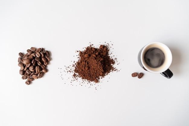 Le fasi di vista dall'alto del caffè Foto Gratuite