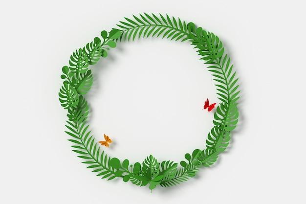 Le foglie verdi sono a forma di cerchio, volano di carta farfalla Foto Premium