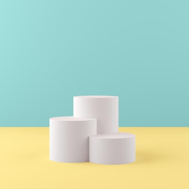 Le forme della geometria della rappresentazione 3d deridono sul concetto minimo di scena, il podio bianco con fondo verde e giallo per il prodotto o il profumo Foto Premium