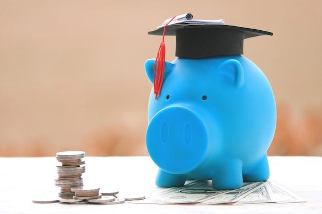 Le monete impilano i soldi di risparmio con la banca piggy blu. Foto Premium