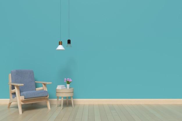 Le pareti del soggiorno blu All\'interno di una poltrona e una ...