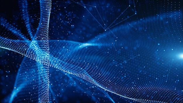 Le particelle di digital ondeggiano il flusso e torcono il concetto astratto del fondo della tecnologia del moto Foto Premium