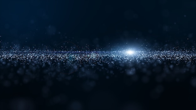 Le particelle digitali di colore blu astratto ondeggiano con polvere e fondo leggero Foto Premium