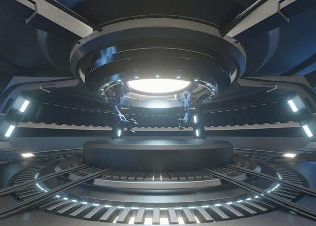 Le stanze del futuro con il podio e ha un braccio meccanico per il manico della ricerca. Foto Premium