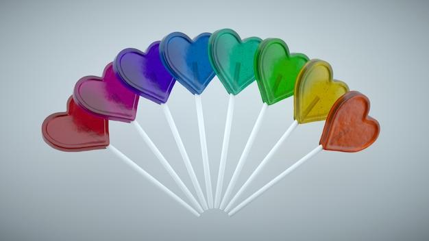 Lecca lecca colorate a forma di cuore. gradiente di colori primari. Foto Premium