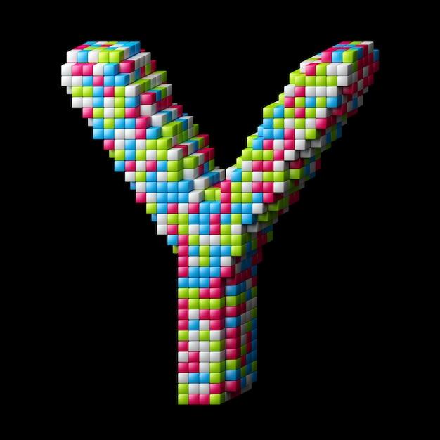 Lettera di alfabeto pixelated 3d a Foto Premium