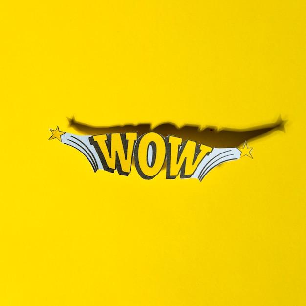 Lettering comico wow in stile retrò pop art con ombra Foto Gratuite