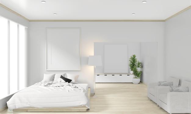 Letto in legno, struttura e decoro in stile giapponese nel design minimal della camera da letto zen. rendering 3d. Foto Premium