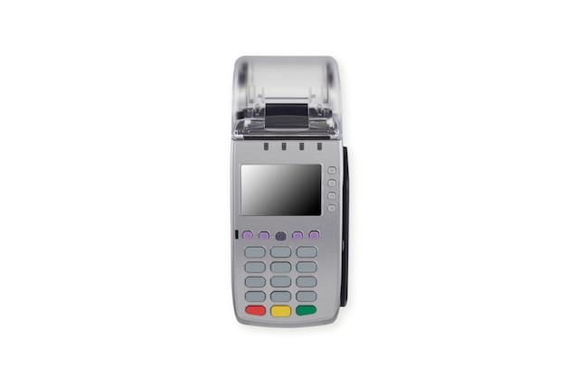 Lettore automatico della carta di credito su bianco Foto Premium