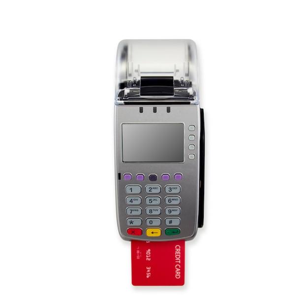 Lettore della carta di credito isolato sulla parete bianca Foto Premium