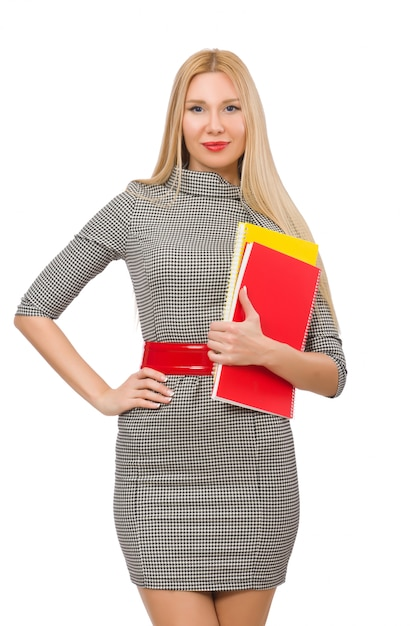 Libri graziosi della tenuta dell'insegnante isolati su bianco Foto Premium