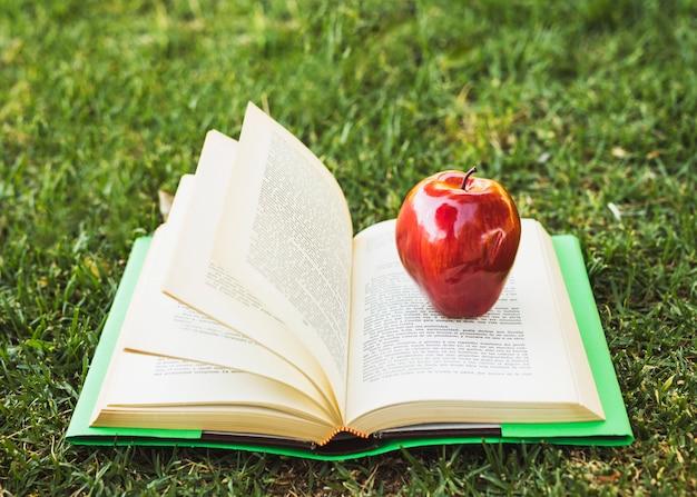Libro aperto con la mela in cima a prato verde Foto Gratuite
