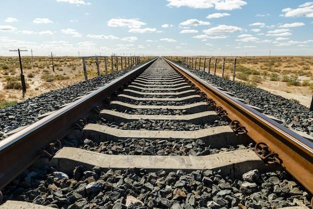 Linea ferroviaria a binario singolo, binario ferroviario nella steppa del kazakistan Foto Premium