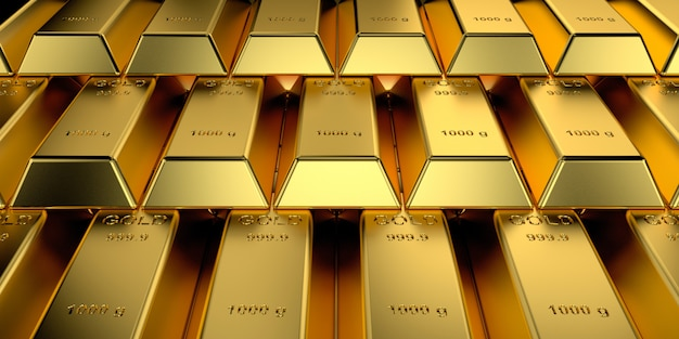 Lingotti d'oro con il concetto di banner web. rendering 3d. Foto Premium