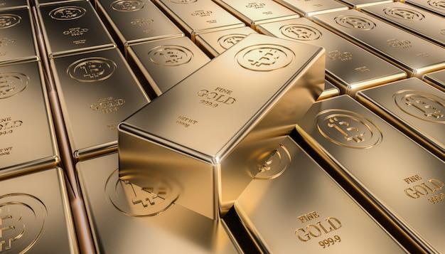 Lingotto d'oro bitcoin Foto Premium