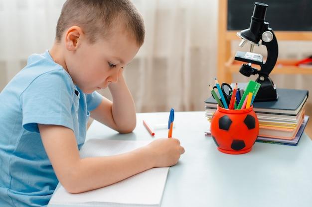 Lo scrittorio di menzogne dell'aula domestica di seduta del ragazzo di scuola ha riempito di scolaro del materiale di addestramento dei libri Foto Premium