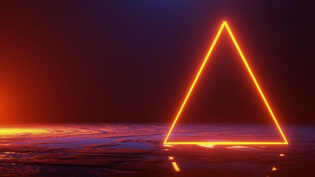 Lo spazio astratto, il triangolo della luce al neon, 3d rende Foto Premium