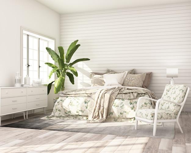 Lo stile classico moderno della camera da letto del modello con il letto di legno bianco del gabinetto della parete e la poltrona 3d rendono Foto Premium