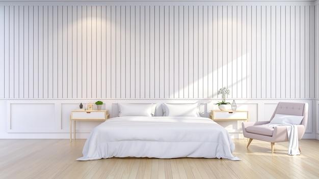 Lo stile minimalista e scandinavo, l'interno accogliente della camera da letto, la stanza bianca, 3d rendono Foto Premium