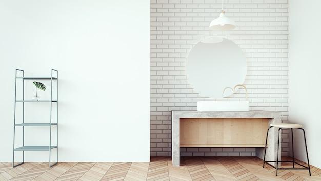 Loft e bagno moderno del bacino / 3d rendering interni Foto Premium