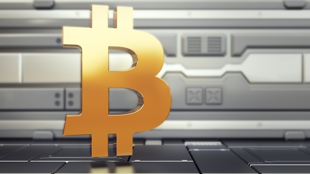 Logo bitcoin nell'astronave Foto Premium