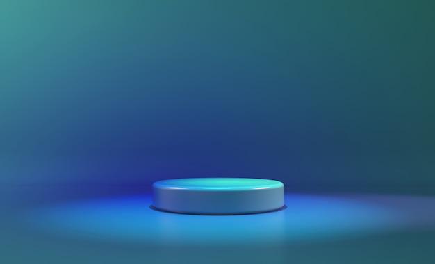 Luce al neon blu a forma di cerchio. astratto sfondo futuristico Foto Premium