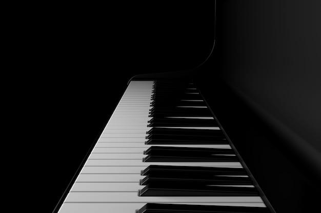 Luce e ombra del pianoforte nell'oscurità Foto Premium
