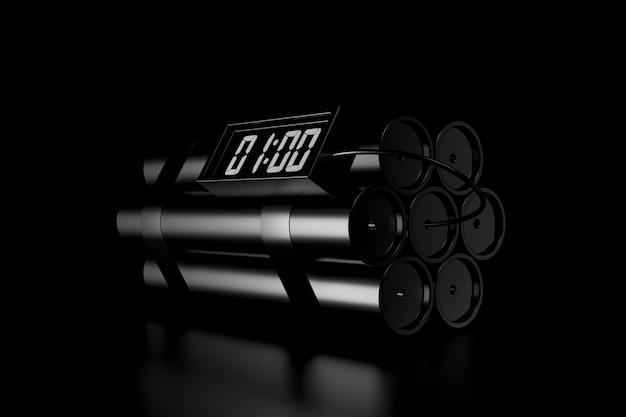 Luce e ombra della bomba dinamite nell'oscurità Foto Premium
