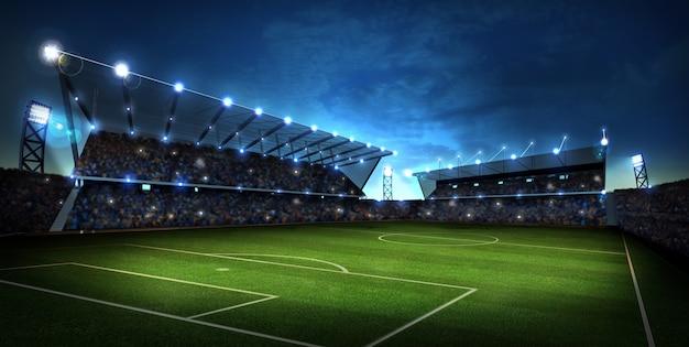 Luci di notte e stadio. sfondo sport rendering 3d Foto Premium