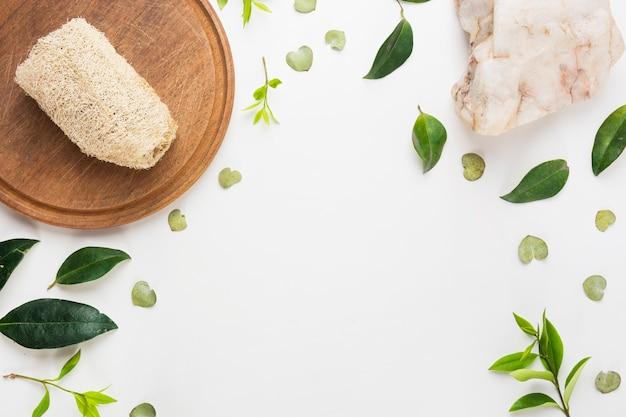 Luffa naturale sul bordo di legno con la pietra della stazione termale e foglie di diffusione su fondo bianco Foto Gratuite