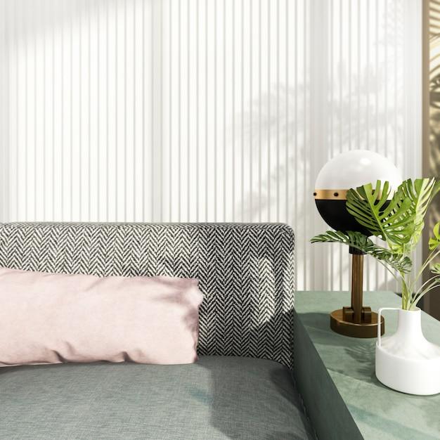 Lusso della rappresentazione 3d e salone moderno con il sofà del tessuto Foto Premium