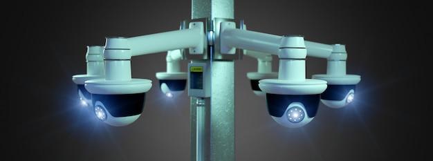 Macchina fotografica del cctv di sicurezza della via isolata su- rappresentazione 3d Foto Premium