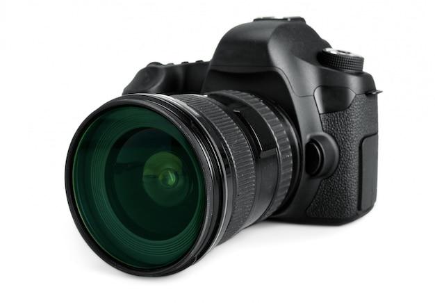 Macchina fotografica nera di dslr isolata su bianco Foto Premium