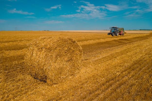Macchina mietitrice per la raccolta del lavoro del campo di grano. mietitrebbiatrice agricoltura macchina raccolta campo di grano maturo dorato. agricoltura. Foto Premium