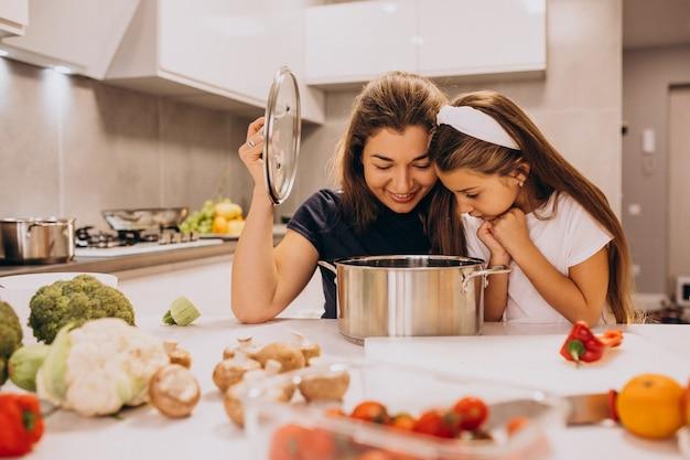 Madre con la piccola figlia che cucina insieme alla cucina Foto Gratuite