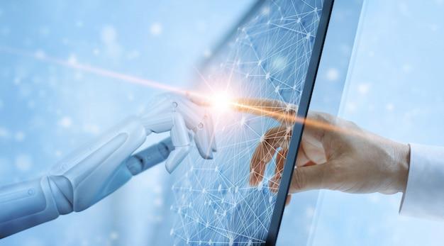 Mani del robot e contatto umano sull'interfaccia futura della connessione di rete virtuale globale. Foto Premium
